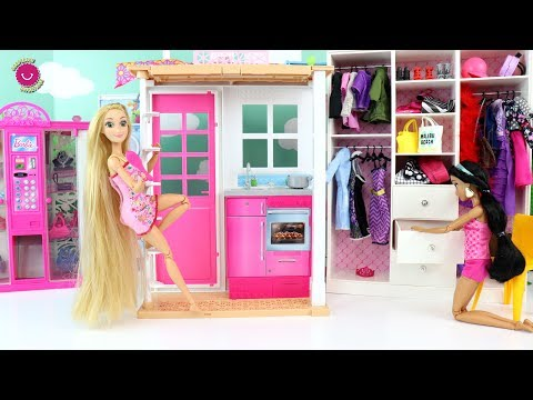 Barbie Malibu House Unboxing & Setup! Pink Dollhouse Rumah boneka Barbie Casa de boneca