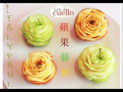 Art in apples show fruit carving apple rose fruit for Apple fruit decoration
