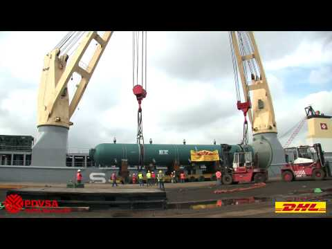 4000 tons of absorber tower, reactors and demethanizer moved (break bulk / oversize) by DHL. Video 2