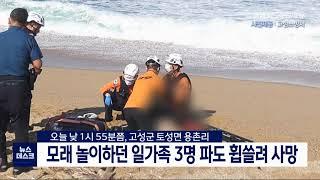 강원 고성)모래 놀이 일가족 3명 파도 휩쓸려 사망