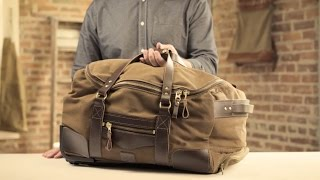 The Rolling Carry-On Duffle   Waxed Canvas & Leather Rolling Duffle Bag