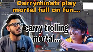 Carry trolling mortal on stream || funny troll || can't control laughing