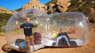 Surviving OVERNIGHT in a Bubble House in the Desert!! *GONE WRONG*