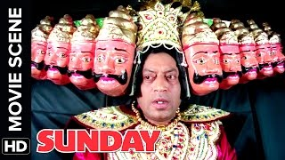 Irrfan Khan becomes Raavan and is chased by a dog | Sunday | Movie Scene | Comedy