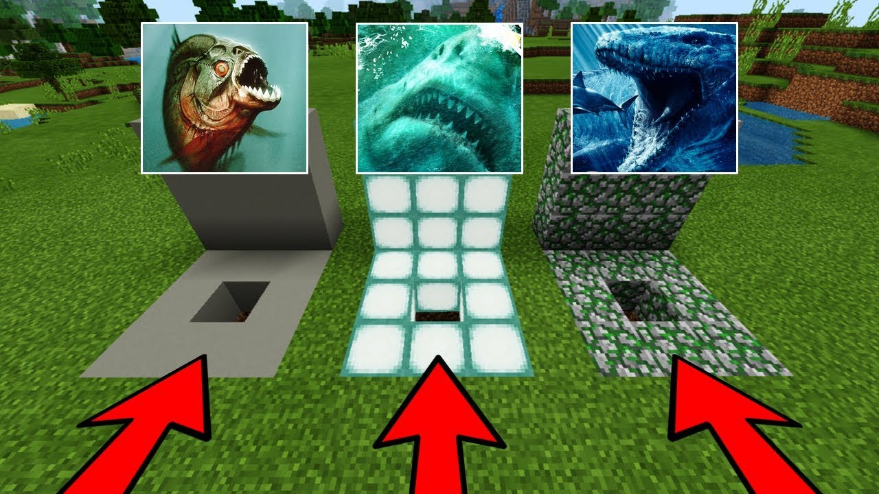 DO NOT CHOOSE THE WRONG HOLE in Minecraft PE (Megalodon, Mosasaurus & Piranhas)