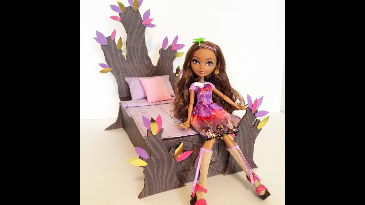 How to make a Cedar Wood doll bed tutorial - Ever After High - YouTube