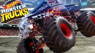 Hot Wheels Monster Trucks Scorpion Boost Track and Ultimate Garage with Robot T-REX!