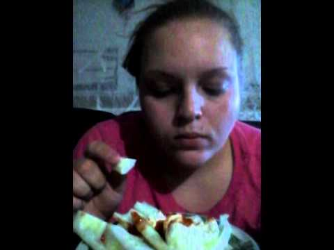Eating cucumbers with cream cheese and chili sauce