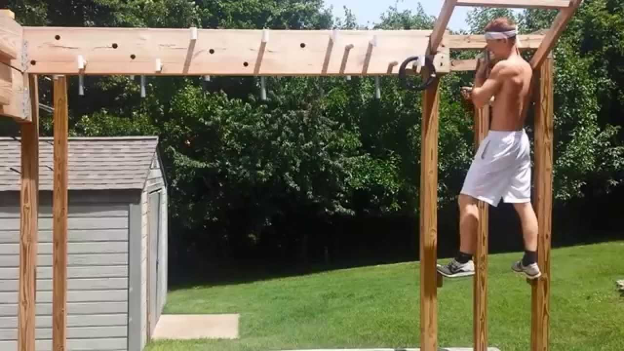Backyard American Ninja Warrior Obstacle Course : Entire Ninja Warrior Course Completed  YouTube