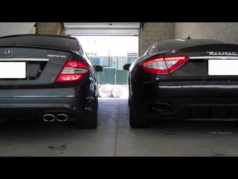 Mercedes C63 AMG vs Maserati Granturismo S (Sounds: Engine Cold Start and REVS)