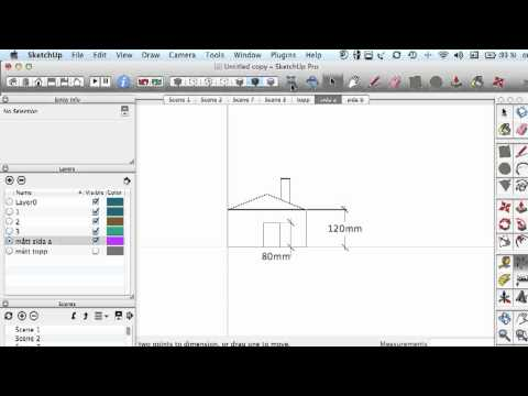 Sketchup Tutorial 1, start settings, layer, group, scen, animation setting