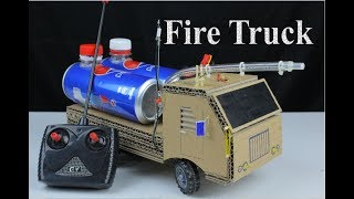 Amazing ! DIY A Simple RC Fire Truck from cardboard - How to make toy car at home