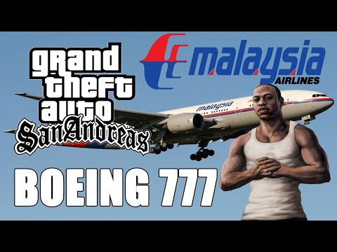 Voo de Boeing 777 da Malaysia airlines GTA San Andreas
