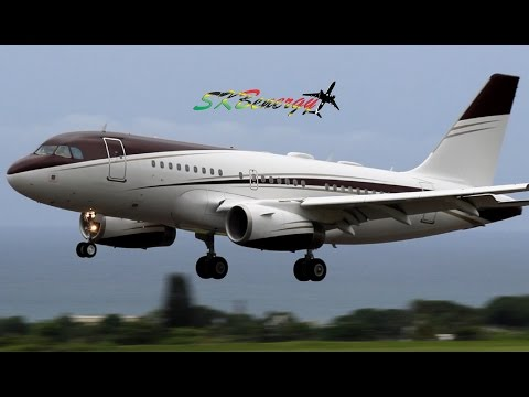 Private A319 VP-CCJ arrival in St Kitts, extended version (HD 1080p)