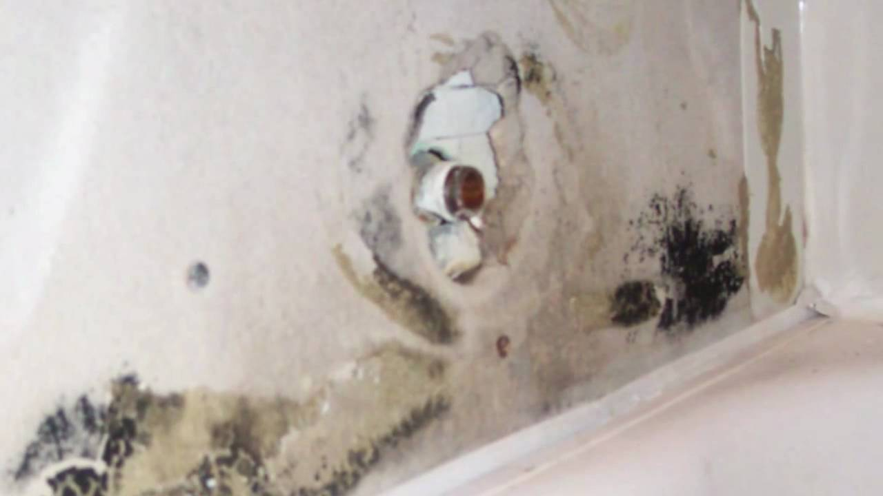 Black Mold Behind Plastic Bathtub Surround Bathroom Demolition And Remodeling Youtube