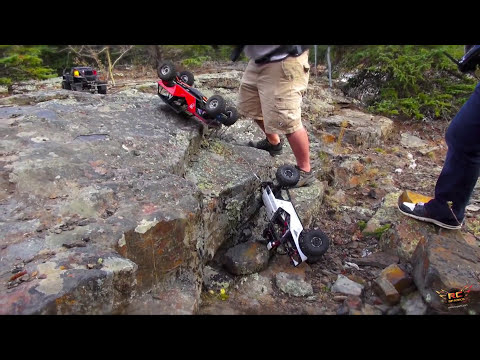 RC ADVENTURES - iNCREDiBLE TERRAiN - SiX RC 4X4 TRAiL TRUCKS at SHEEP RiVER FALLS, Alberta, Canada
