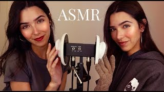 ASMR Twin Ear Cleaning (+ Ear oil massage, Ear brushing, Ear tapping and tingly sounds)