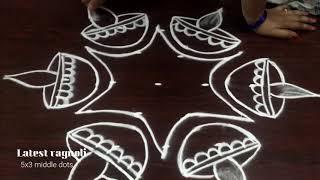 Simple Diwali Kolam 2018 - Latest & Easy Deepam Rangoli Design With 5 Dots