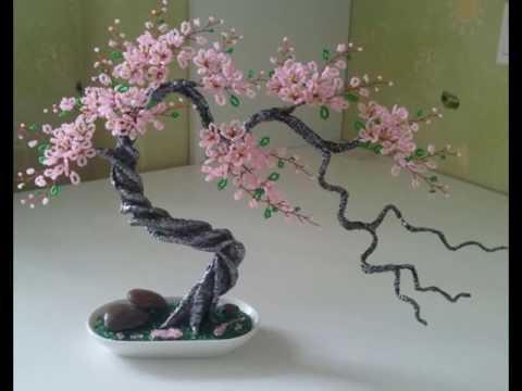 Как сделать дерево сакура из бисера
