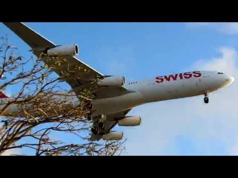 Swiss International Air Lines Airbus A340-300 Landing at LAX