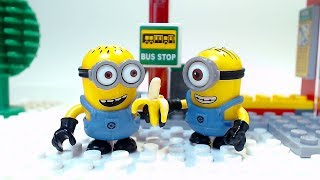 Bus Stop Minions Children Cartoon