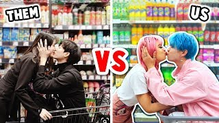 RECREATING CUTE COUPLE PHOTOS CHALLENGE in PUBLIC!! | Our Fire