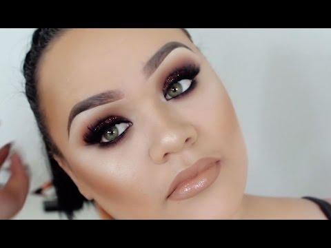 Brown Glitter Smokey Eye & Nude Lip   Full Face Makeup Tutorial   Makeupwithjah