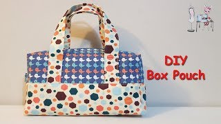 DIY BOX BAG TUTORIAL  | ZIPPERED BOX BAG | DIY MAKEUP BOX BAG | BAG SEWING TUTORIAL