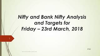 Download video Nifty and BankNifty Trading Levels for 23 Mar 2018