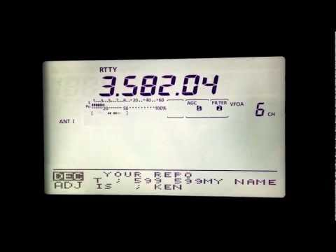 IC 9100 -  HF  - Internal Display - Rtty Test  3.582 Mhz - 16.06.2012