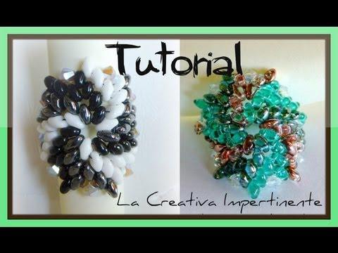 DIY beads ring - tutorial anello superduo e twin - Tricolor pinwheel