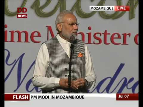 PM Narendra Modi interacts with Indian community in Maputo, Mozambique