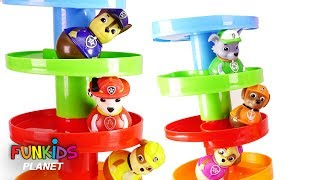 Paw Patrol Weeble Wobble Ball Marble Maze Games with Skye & Chase - Learning Colors Videos for Kids