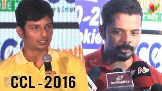 Forgot Sarathkumar, Thanks for Reminding - Jiiva | Sreesanth in Celebrity Cricket League 2016
