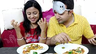 Pizza and Momo Blind Fold Eating Challenge | Husband and Wife Challenge | Glam With Me