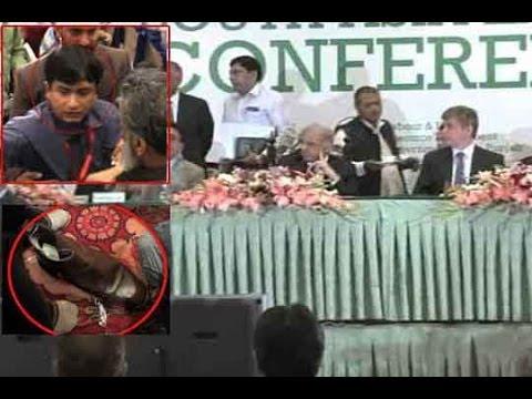 Dunya News - Journalist throws shoe at Punjab CM Shahbaz Sharif