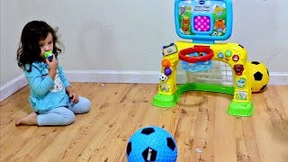 Toddlers Learning and Playing Sports Toys - Baby Learn Colors with Colored Soccer Balls for Children