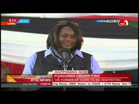 Dr. Judi Wakhungu Cabinet Secretary for Environment makes her statement to poachers today