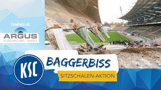 Wildparkstadion Baggerbiss & Sitzschalenaktion