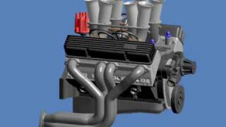 3D animation of a alcohol injected V8 - Improved