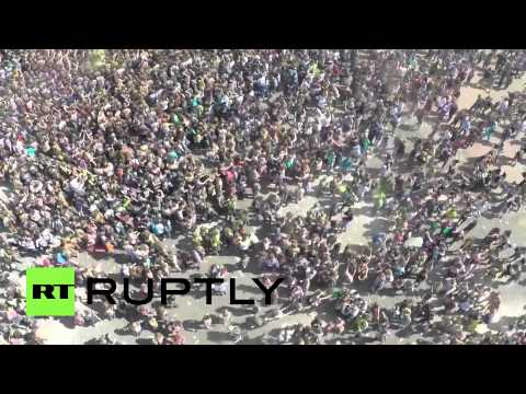 Celebrating Holi: Drone footage of revelers at the Festival of Colors in Moscow