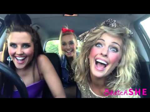 3 model girls singing in a car 2015 Mime Through Time by SketchSHE