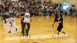 I HIT A LAMELO BALL HALF COURT SHOT AT THE PEP ASSEMBLY!! (NOT CLICKBAIT)