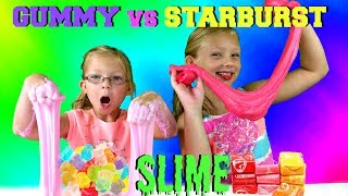 GUMMY vs STARBURST SLIME CHALLENGE * DIY Edible Slime Candy!!! SLIME YOU CAN EAT!