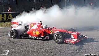 Sebastian Vettel Doing Donuts Burnouts in a Ferrari F1 Car -  Finali Mondiali Ferrari 2015