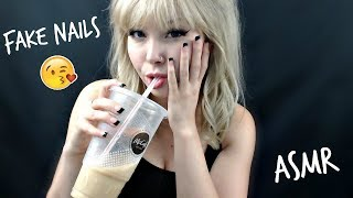 ASMR Putting On Fake Nails (Mouth Sounds & Close Whispers) 🙏🏻