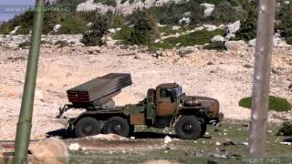 BM-21-1 Grad with Russian crew in North Latakia