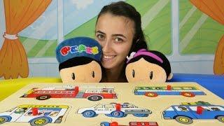 Sevcan, Şila, Pepee ve taşıt arabalarına ait puzzle