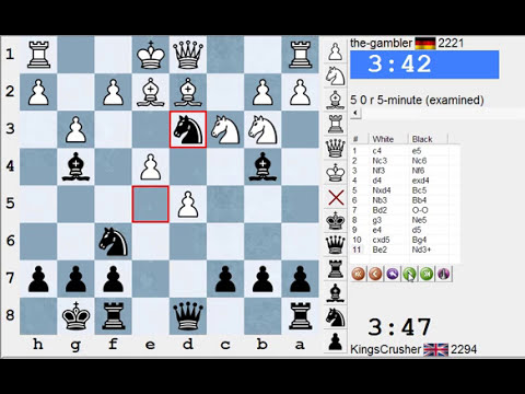 Chess World.net: Live Blitz #1951 vs the-gambler (2221) -  Black in English Opening