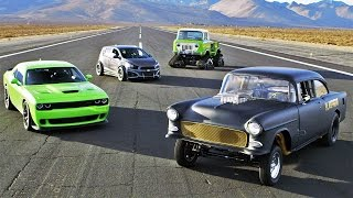 SEMA Drag Race: Hellcat vs Blasphemi vs Jeep FC vs Sonic! - 2014 SEMA Week Ep. 5
